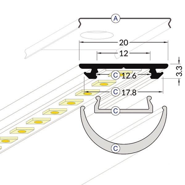 ARC LED Aluminium Profile -2M K01-1002-2M cross section 670x670