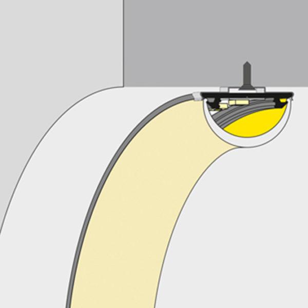 Bendable Arc LED aluminium profile K01-1002 670x670 diagram