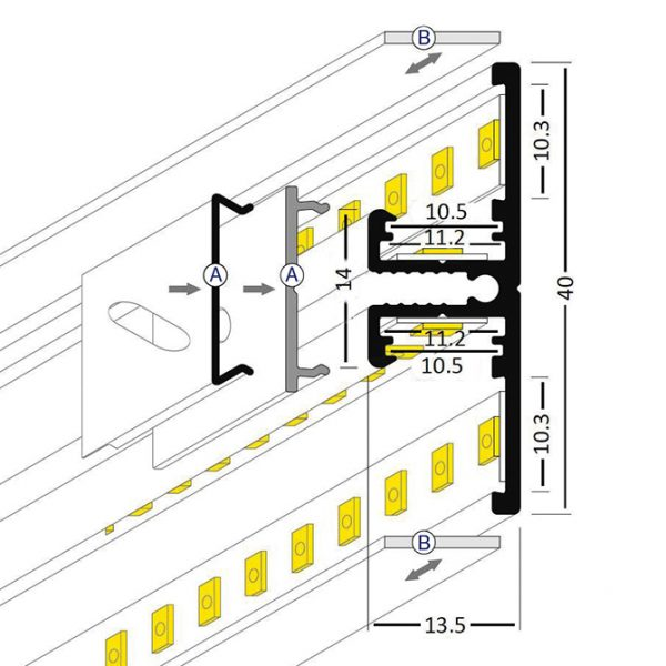 BACK LED ALUMINIUM PROFILE -2M Back K01-1015 Cross Section 670X670
