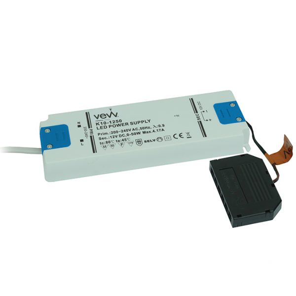 DRIVER 50W 12V LED DRIVER FOR SINGLE COLOUR, CCT AND RGB CONTROLLERS DRIVER 50W K10-1250UNI 670X670