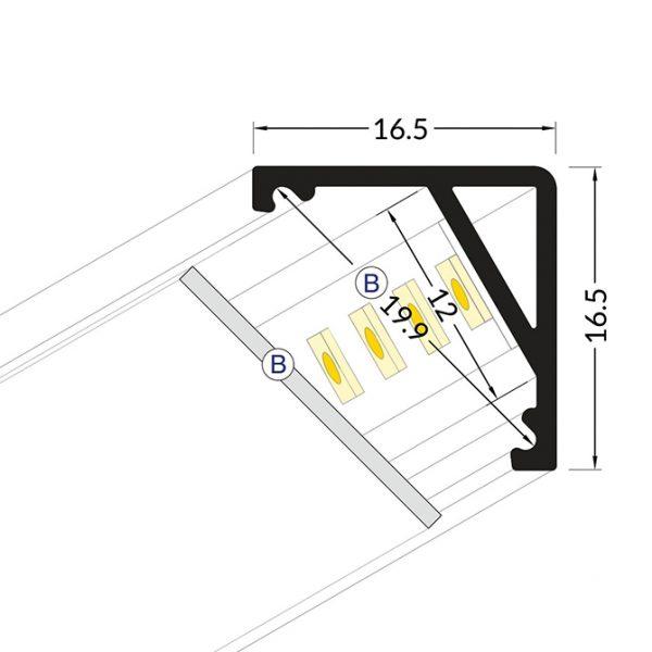 DISPLAY LED ALUMINIUM PROFILE -2M K01-1065 Cross Section 670x670