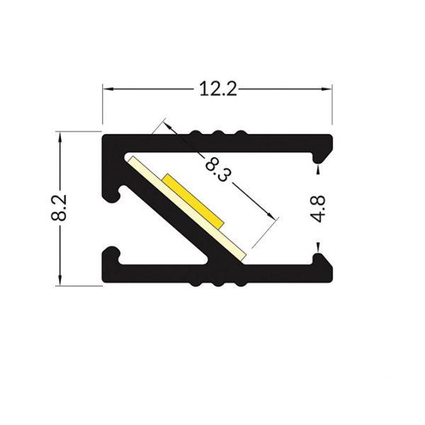 EDGE LED Aluminium Profile -2M k01-1120 dimensions 670x670