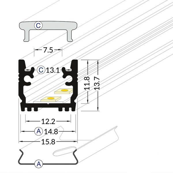 FLOOR LED ALUMINIUM PROFILE -2M K01-0140-2M cross section 670x670