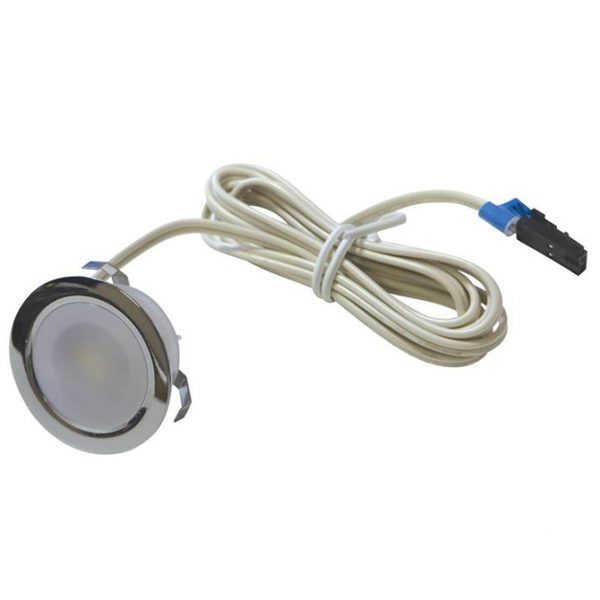 SOLA IP65 RATED LED POLISHED CHROME ROUND PLINTH LIGHT WITH DIFFUSED LENS 0.4W K01-0030 670x670