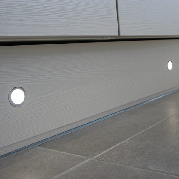 SOLA IP65 RATED LED POLISHED CHROME PLINTH LIGHT WITH DIFFUSED LENS 0.4W K01-0030 insitu 2 670x670