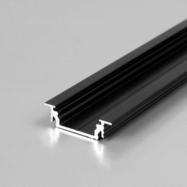 RECESSED LED ALUMINIUM PROFILE FOR LED TAPE– 2M K01-1055-2M - Black 670x670
