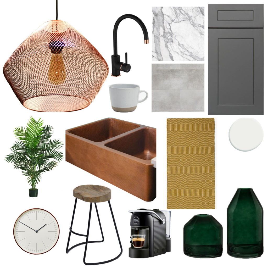 grey and copper kitchen moodboard