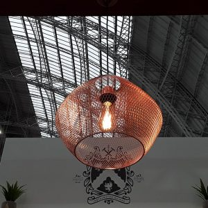 ORTIZ COPPER METAL MESH CEILING PENDANT 370MM TO1-0003 insitu 670x670