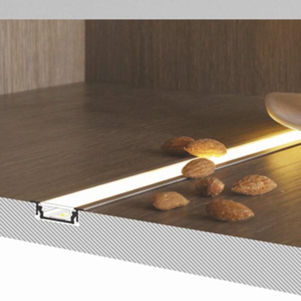 Recessed LED Aluminium profile for cabinet & wardrobe lighting - K01-1055-2M - 670x670 Diagram