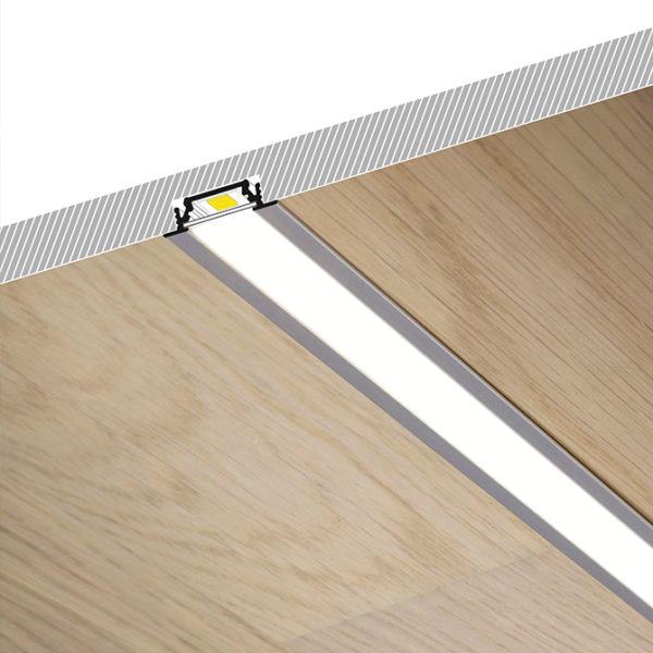 Recessed LED Aluminium Profile For Wardrobe & Cabinet LED Strip Lighting - K01-1055-2M Cross Section 670x670