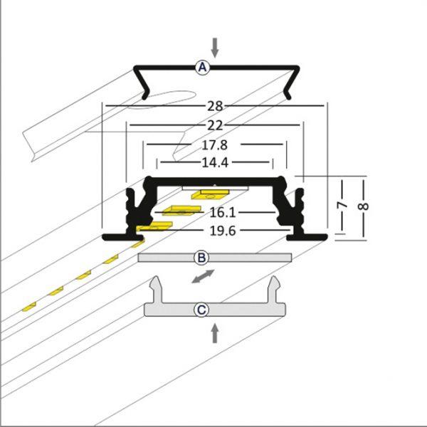 RECESSED LED ALUMINIUM PROFILE – 2M Recessed - K01-1055-2M cross section 670x670