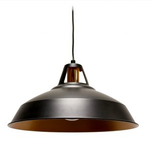 SANZIO BLACK METAL CEILING PENDANT WITH GOLD INTERIOR 390MM T01-0004 670x670
