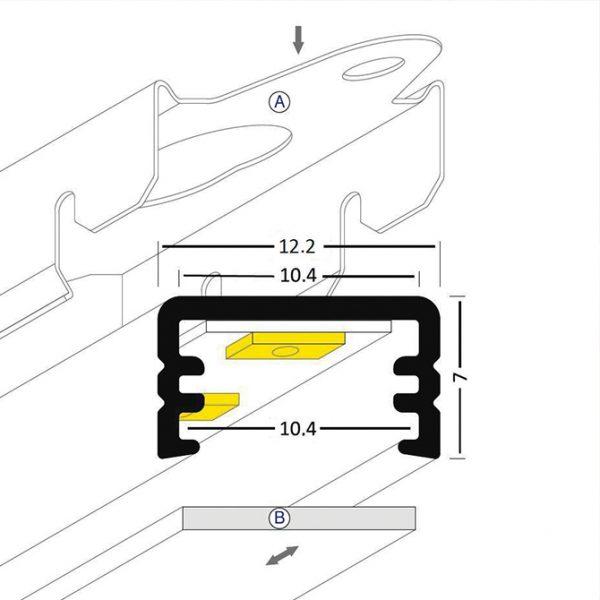 SLIM LED Aluminium Profile -2M Slim - K01-0100-2M cross section 670x670