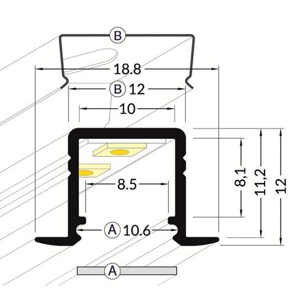 SMART RECESSED LED ALUMINIUM PROFILE – 2M - K01-1037-2M cross section 670x670