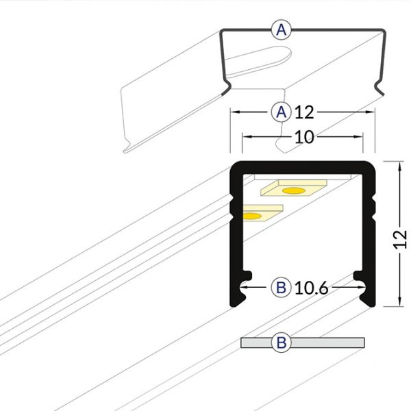 SMART SURFACE LED ALUMINIUM PROFILE – 2M- K01-1035-2M cross section 670x670
