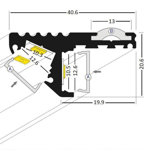 STEP LED ALUMINIUM PROFILE -2M K01-0120-2M cross section 670x670
