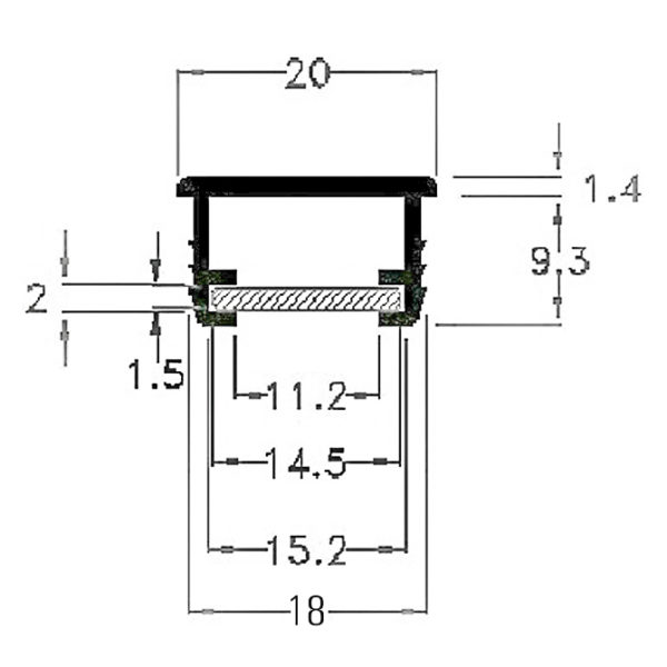 tee recessed plastic led profile cross section v2