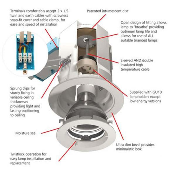 IP20 RATED FIXED GU10/LV ICAGE FIRERATED DOWNLIGHT A20-3617 diagram 670x670