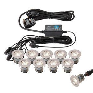 10-LIGHT LED POLISHED STAINLESS STEEL ROUND WALKOVER KIT K05-3625 670x670