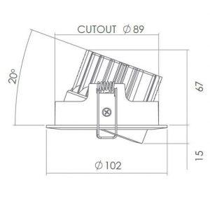 IP65 LED 5.8W TILT DIMMABLE DOWNLIGHT K05-6051 Diagram 670x670
