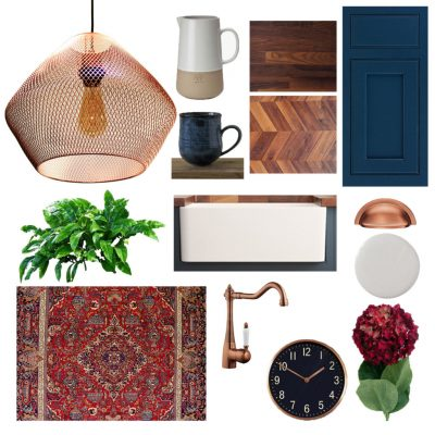 Copper and blue kitchen moodboard