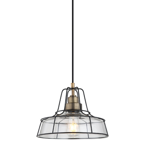 Cadence antique metal finish ceiling pendant light with industrial framing- T01-0016 670X670