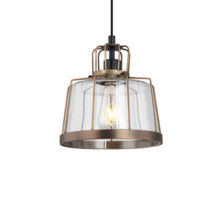 Zita antique framed ceiling pendant T01-0017 2 with wide glass shade