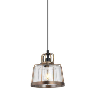 Zita antique framed ceiling pendant T01-0017 with wide glass shade