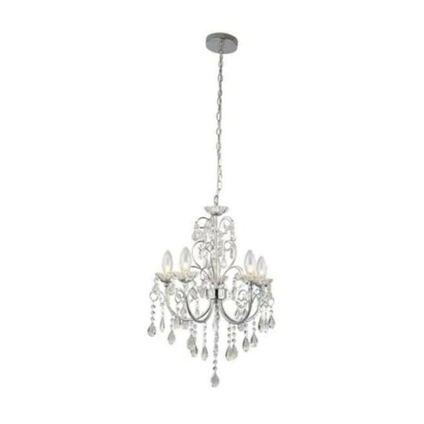 crystal glass and chrome chandelier D02-4005