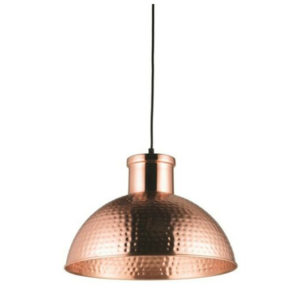domed copper ceiling pendant hammered effect T54-0032