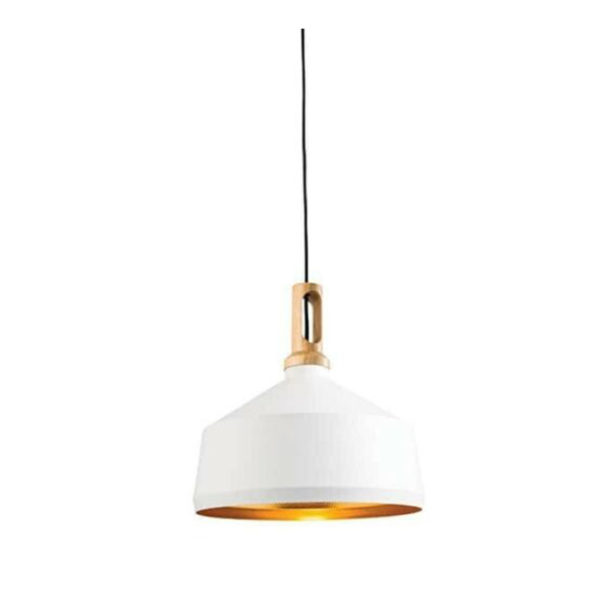 white aluminium and wood ceiling pendant T54-0006MW