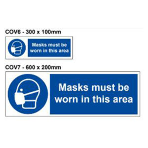 Vewhygiene Masks must be worn in this area coronavirus safety sign