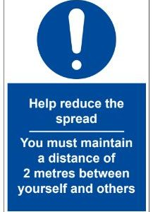 VEWhygiene help reduce the spread and maintain distance of 2 metres coronavirus safety sign 2