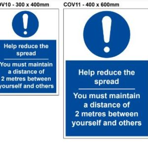 VEWhgiene help reduce the spread and maintain distance of 2 metres coronavirus safety sign