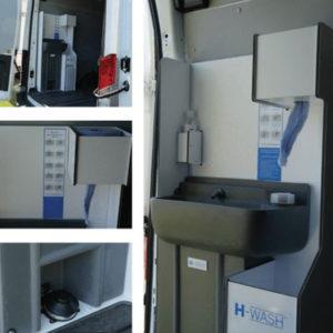 vewhygiene h-wash45v van tidy sanitising station