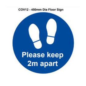 vewhygiene please keep 2m apart circle and floor coronavirus safety sign