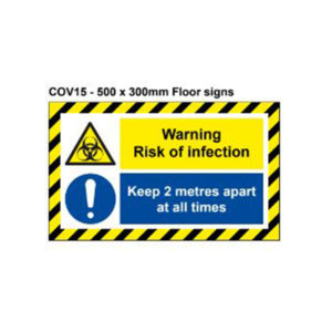 vewhygiene warning risk of infection and keep 2 metres apart coronavirus floor safety sign