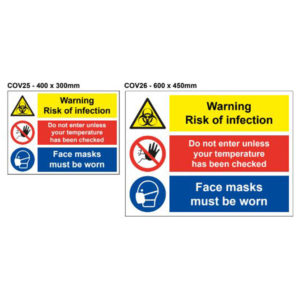 vewhygiene warning risk of infection, do not enter unless temperature checked and face masks must be worn coronavirus safety sign