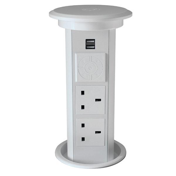 white motorised pop up socket